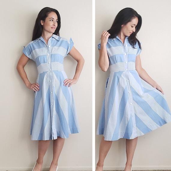 1940s Blue White Striped Vintage Cotton Dress