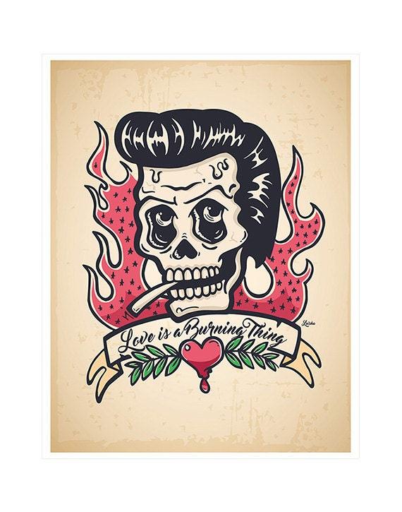 Johnny Cash Skull Ring Of Fire Lyrics Johnny Cash Tattoo Skull Etsy
