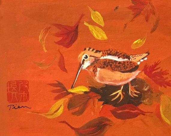 Woodcock ~ Acrylic-Gouache Painting ~ Ready to Ship!