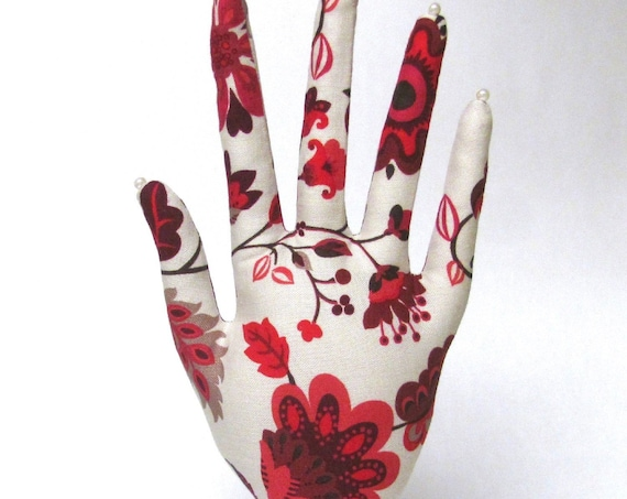 CLASSIC Red Floral HAND-Stand ~ Jewelry Display ~ Ready to Ship