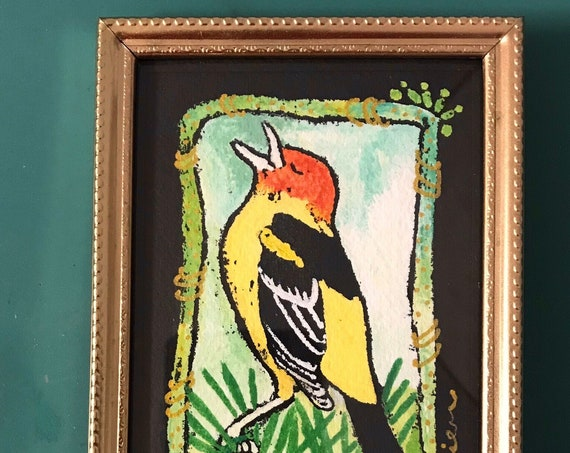 Western Tanager ~ Gouache Painting ~ Ready to Ship!