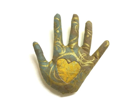 Gold Swirl Heart-In-Hand Brooch ~ Ready to Ship!
