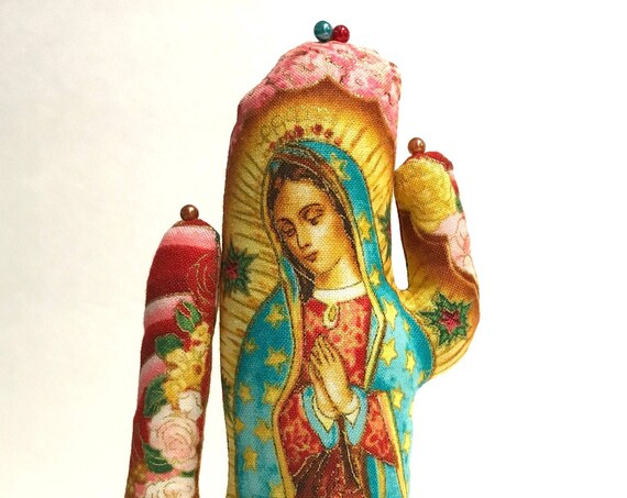 Tall Our Lady Guadalupe Red CACTUS-Stand ~ Jewelry Holder ~ Ready to Ship