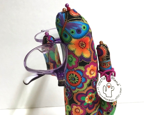 Tall Laurel Burch Floral CACTUS-Stand ~ Eyeglasses & Jewelry Holder ~ Ready to Ship!