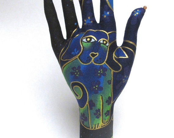 CLASSIC Laurel Burch Blue Dogs HAND-Stand - Ready to Ship!