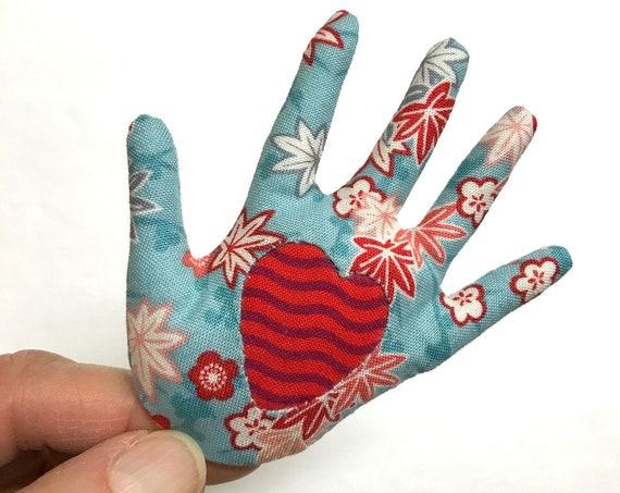Sakura Red Heart-in-Hand ~ Brooch ~ Ready to Ship!