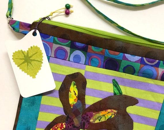 OOAK Chocolatey Iris Appliqué ~ Zipper Bag + Inside Pocket + Removable Strap ~ Ready to Ship!