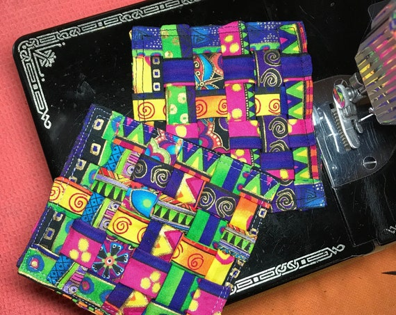Set of 2 Laurel Burch Fabric Coasters ~ Ready to Ship!