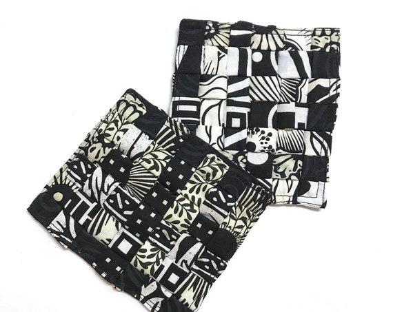 Set of 2 Black & White Coasters ~ Ready to Ship!