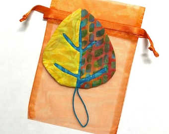 OOAK Aspen Leaf Ornament + FREE Gift Bag ~ Ready to Ship!