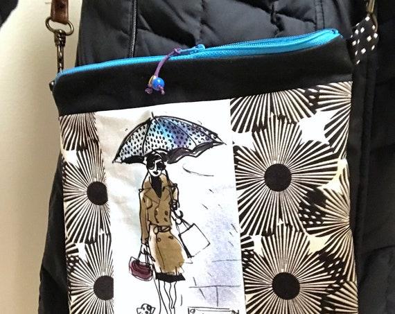 Zipper Bag ~ Umbrella Girl with Pooch ~ Ready to Ship!