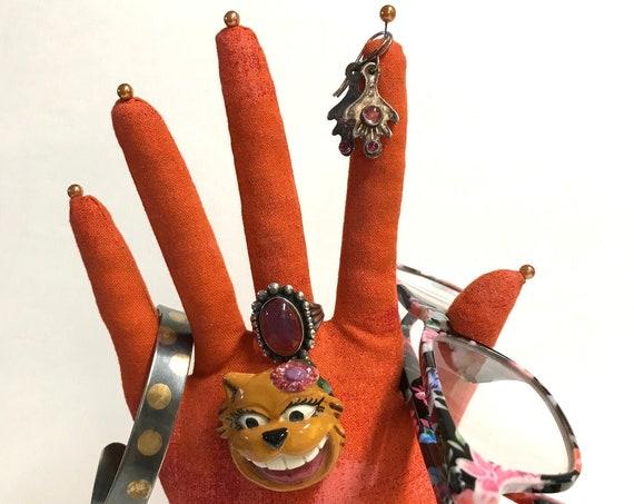 CLASSIC Grunge Orange HAND-Stand ~ Jewelry Display ~ Ready to Ship!