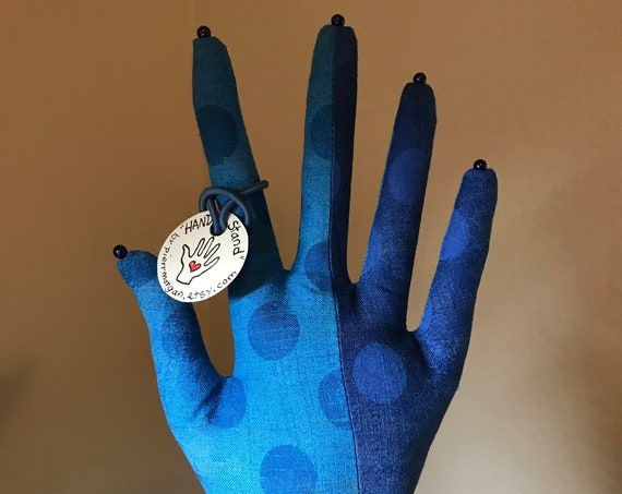 Grunge Blue Dot CLASSIC HAND-Stand ~ Jewelry Display ~ Ready to Ship!