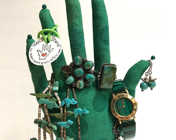 CLASSIC Grunge Kelly Green Dot HAND-Stand ~ Jewelry Display ~ Ready to Ship!