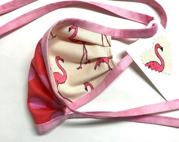 KIDS ages 4-11 ~ Reversible Face Mask ~ Pink Flamingo / Dots