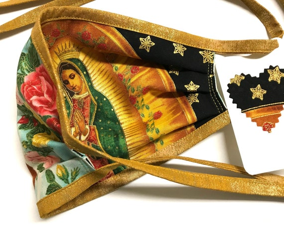 Reversible Face Mask ~ Our Lady Guadalupe Star/Rose GoldStrap ~ Ready to Ship!