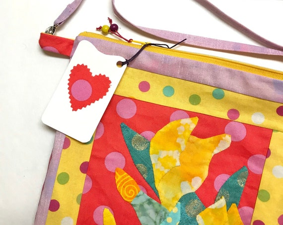 OOAK Yellow Iris Appliqué ~ Zipper Bag + Inside Pocket + Removable Strap ~ Ready to Ship!