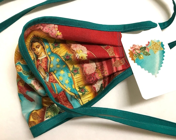 Reversible Face Mask ~ Our Lady Guadalupe Sky/Red TealStraps ~ Ready to Ship!