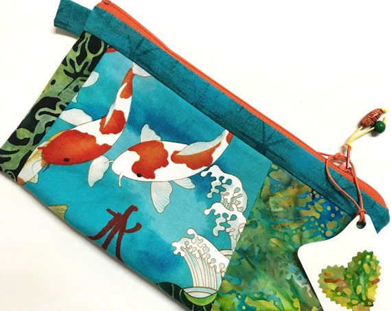 zipper Pouch ~ Koi Fish Orange Zipper ~ Ready to Ship!