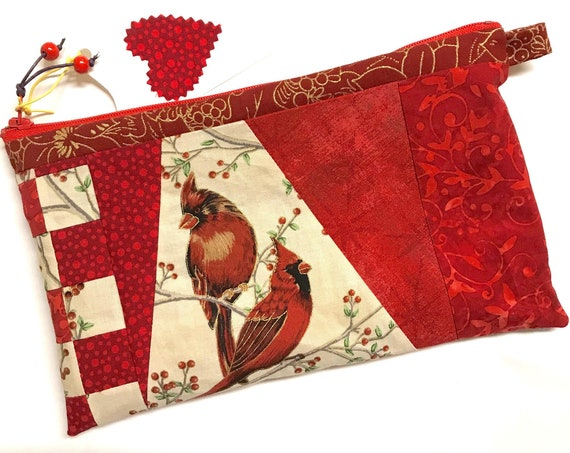 Zipper Pouch ~ Red Cardinal ~ Ready to Ship!