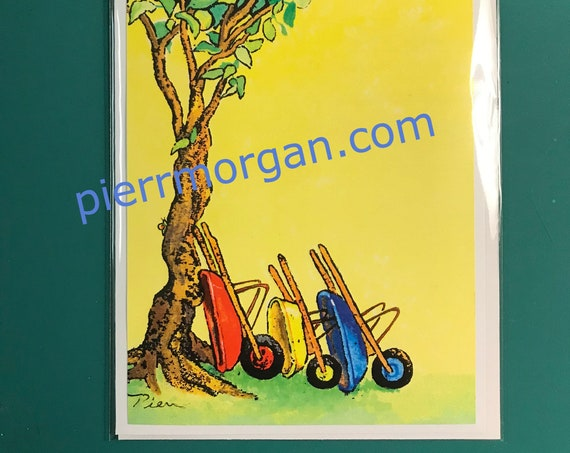 1 Wheelbarrow Card + Bookmark ~ Ready to Ship!