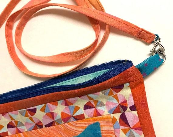 OOAK Blue Iris Appliqué ~ Zipper Bag + Inside Pocket + Removable Strap ~ Ready to Ship!