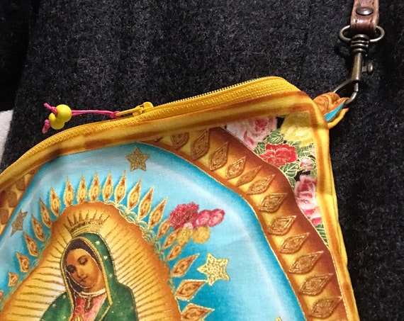 Zipper Bag ~ Our Lady Guadalupe Sky / AquaLining ~ Ready to Ship!