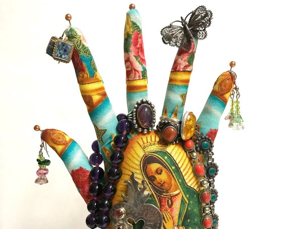 TALL Sky Our Lady Guadalupe HAND-Stand ~ Jewelry Display ~ Ready to Ship