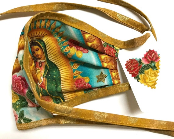 Reversible Face Mask ~ Our Lady Guadalupe Sky/Rose Gold Straps ~ Ready to Ship!
