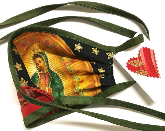Our Lady Guadalupe StarRed GreenStraps - Face Mask - Ready to Ship!