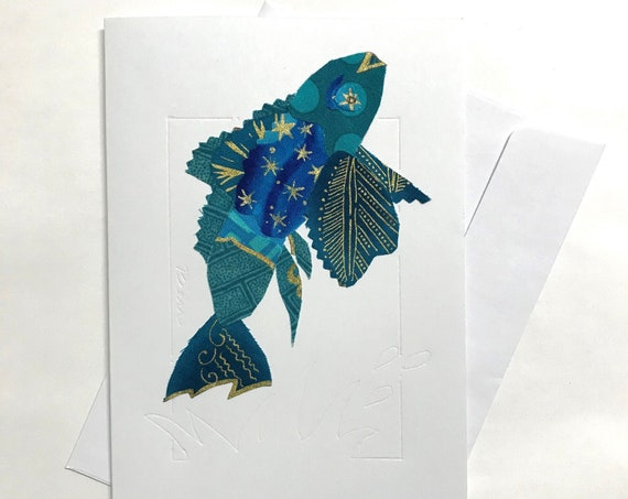 Fish FABcard #12 ~ Ready to Ship!