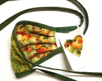 KIDS ages 4-11 ~ Reversible Face Mask ~ Apples / Green Leaves ~ Ready to Ship!