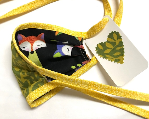 KIDS Face Mask ages 4-11 ~ Fox Green Leaves ~ Ready to Ship!