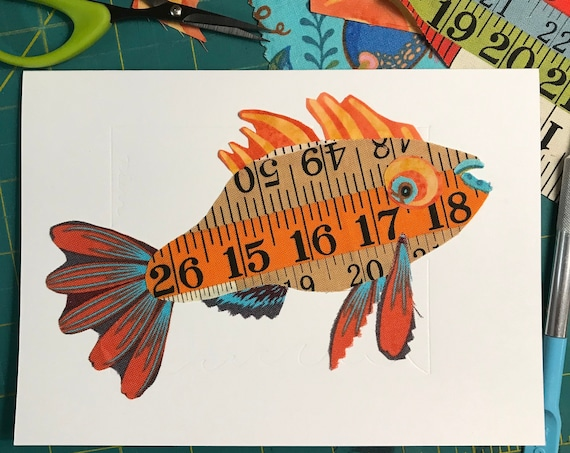 Fish FABcard #10 ~ Ready to Ship!