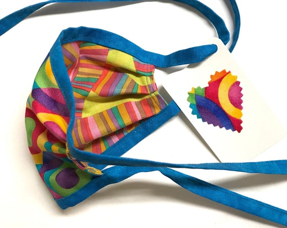 KIDS Face Mask ages 4-11 ~ Circles n Stripes ~ Ready to Ship!