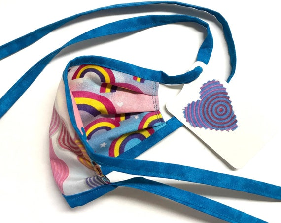 KIDS ages 4-11 ~ Reversible Face Mask ~ Rainbows / Circles ~ Ready to Ship!