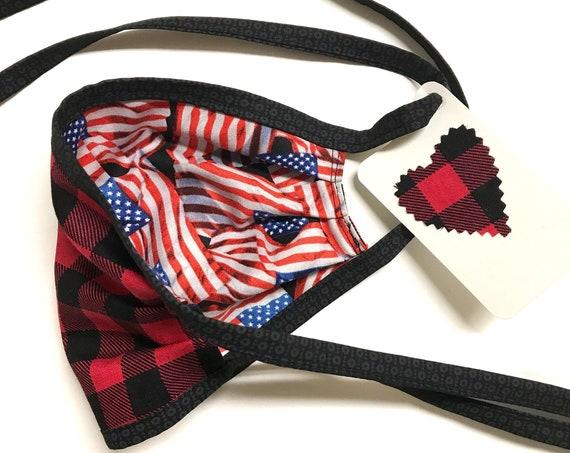 Face Mask ~ American Flag / Buffalo Plaid ~ Ready to Ship!