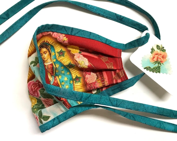 Our Lady Guadalupe RoseRed TealStraps ~ Face Mask ~ Ready to Ship!
