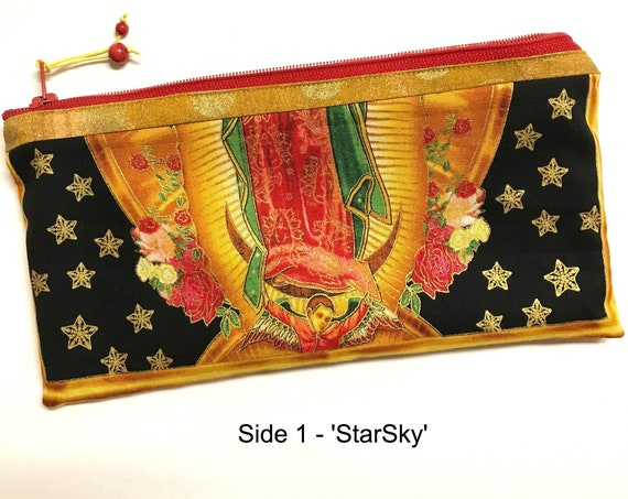 2-sided Zipper Pouch ~ 'StarSky' Angel of Lady Guadalupe, GreenMarbling Lining ~ Ready to Ship!