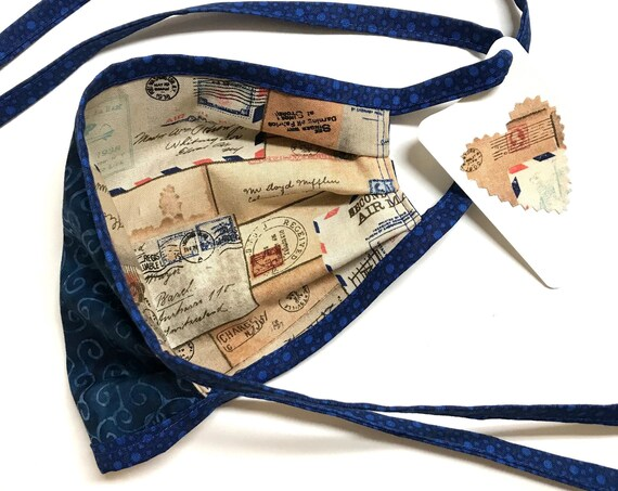 Antique Mail Correspondence / Blue Swirl Batik ~ Face Mask ~ Ready to Ship!