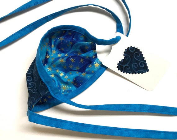 KIDS ages 4-11 ~ Reversible Face Mask ~ Celestial Dreams / Blue Swirly Batik ~ Ready to Ship!