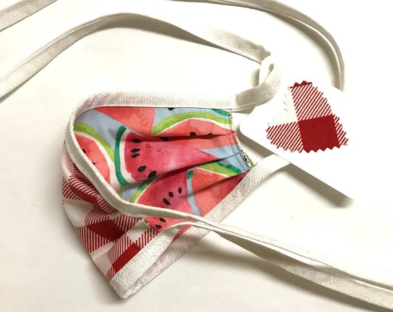 KIDS ages 4-11 ~ Reversible Face Mask ~ Watermelon / Picnic ~ Ready to Ship!