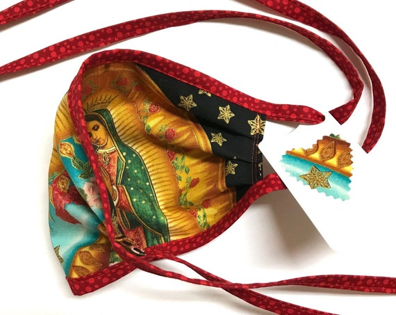 Our Lady Guadalupe StarSky Red-dotted straps ~ Face Mask ~ Ready to Ship!