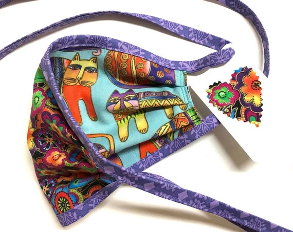 Laurel Burch Fanciful Felines ~ Face Mask ~ Ready to Ship!