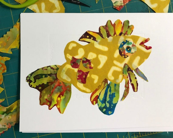 Fish FABcard #1 ~ Ready to Ship!