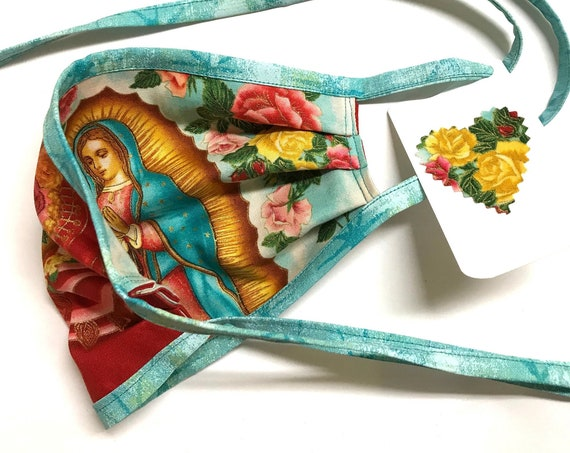 Our Lady Guadalupe RoseRed AquaStraps ~ Face Mask ~ Ready to Ship!