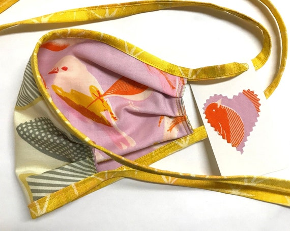 Reversible Face Mask ~ 2 Birds / AbstractLeaves ~ Ready to Ship!