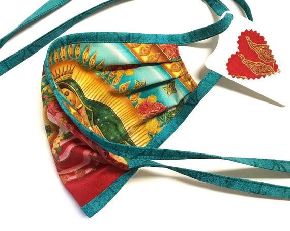 Our Lady Guadalupe SkyRed-Teal Straps ~ Face Mask ~ Ready to Ship!