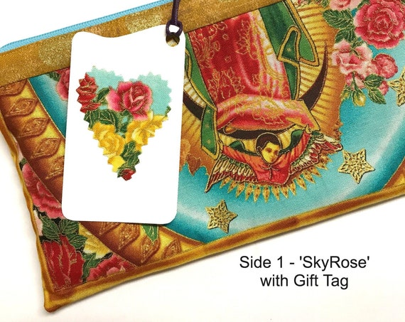 2-sided Zipper Pouch ~ 'SkyRose' Angel of Lady Guadalupe, Teal Lining ~ Ready to Ship!