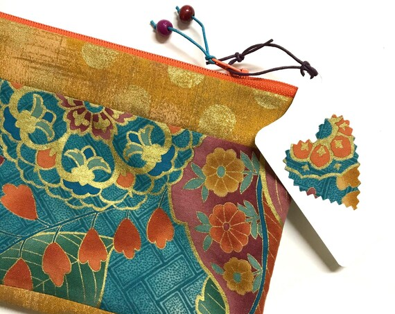 Zipper Pouch ~ Sayomi-Leaf OrangeZipper ~ Ready to Ship!
